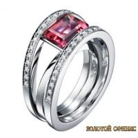 Золотое кольцо с цирконами 30123bt