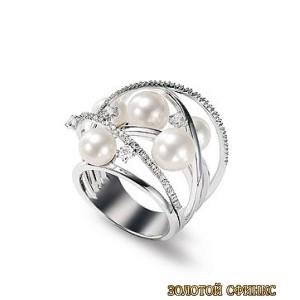 Золотое кольцо с цирконами 30135brr