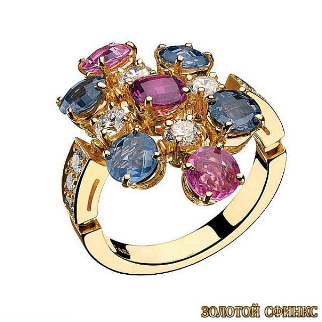 Золотое кольцо с цирконами 30154bi фото