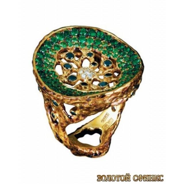 Золотое кольцо с цирконами 30168co