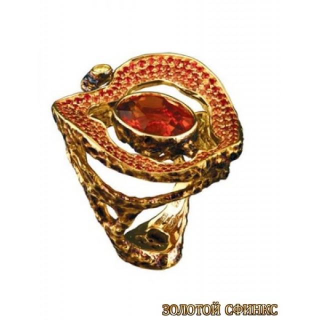 Золотое кольцо с цирконами 30169co