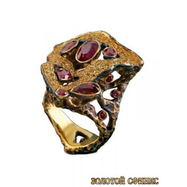 Золотое кольцо с цирконами 30171co