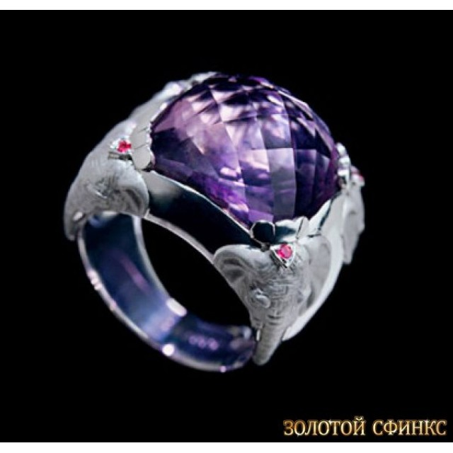 Золотое кольцо с аметистом и цирконами 30184cc