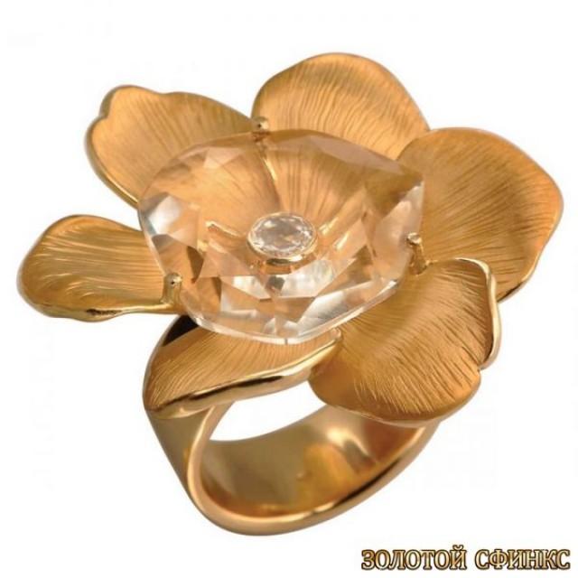 Золотое кольцо с  горным хрусталём 30186cc