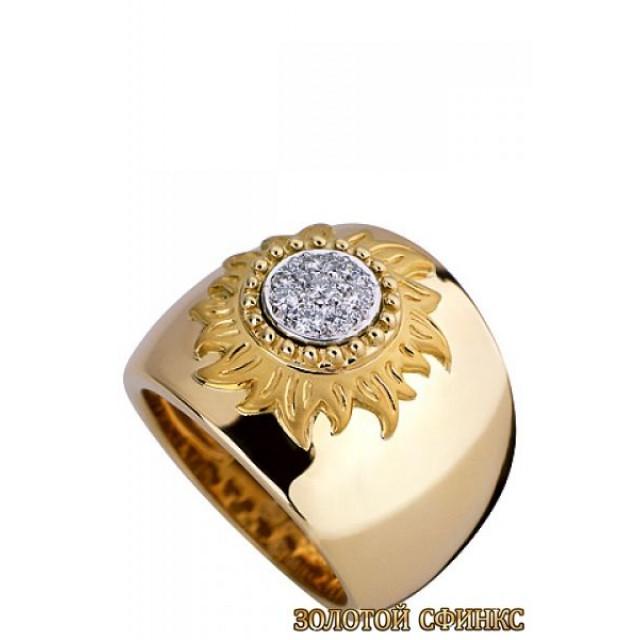 Золотое кольцо с цирконами 30192cc