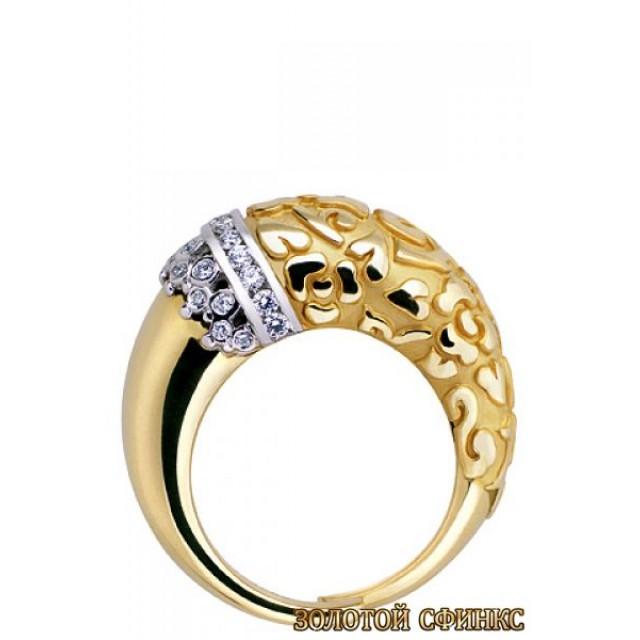 Золотое кольцо с цирконами 30196cc