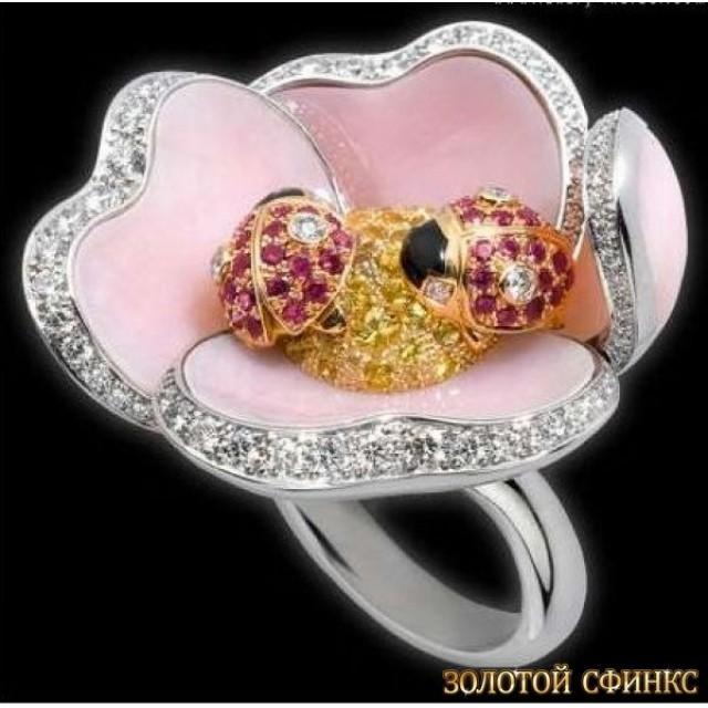 Золотое кольцо с цирконами 30198cr
