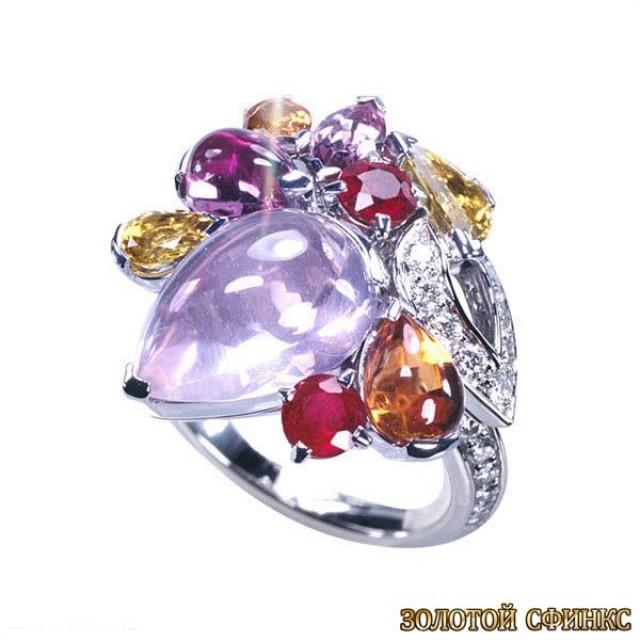 Золотое кольцо с цирконами 30215cr