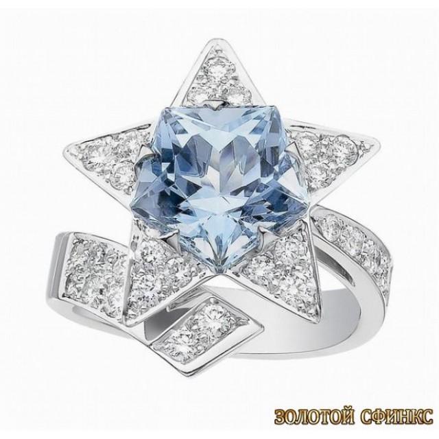 Золотое кольцо с цирконами 30333cl
