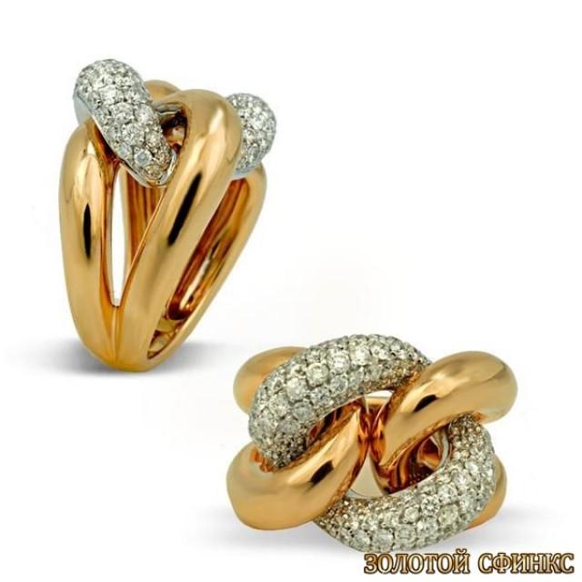 Золотое кольцо с цирконами 30358ci
