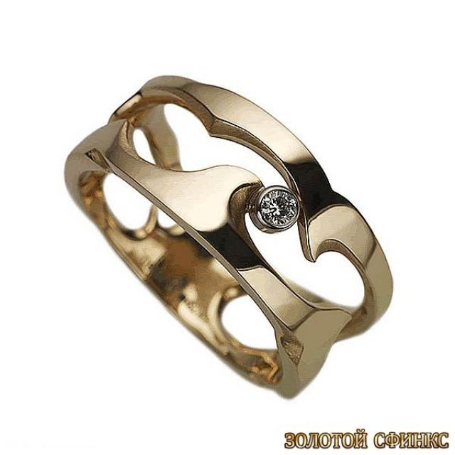 Золотое кольцо с цирконами 30385db
