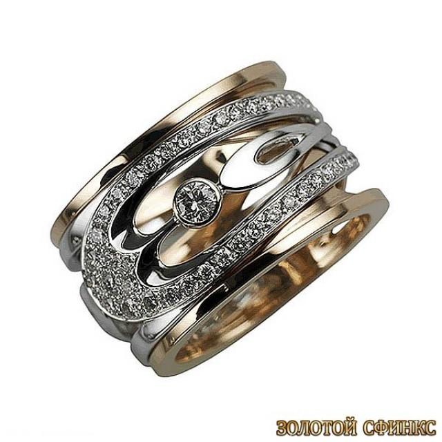 Золотое кольцо с цирконами 30386db