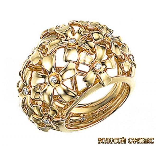 Золотое кольцо с цирконами 30390db фото