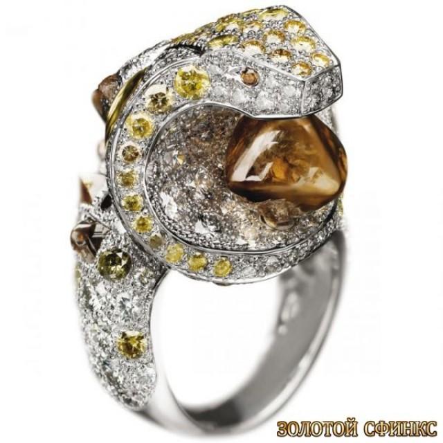 Золотое кольцо с цирконами 30391db