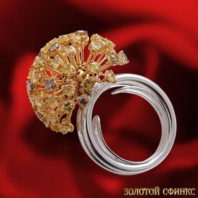 Золотое кольцо с цирконами 30396db