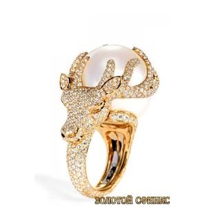 Золотое кольцо с цирконами и жемчугом 30398dg