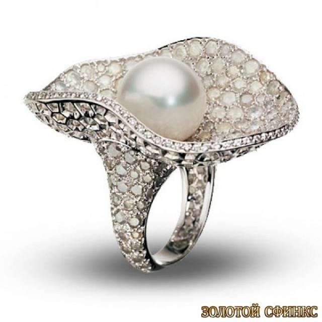 Золотое кольцо с жемчугом 30423dg