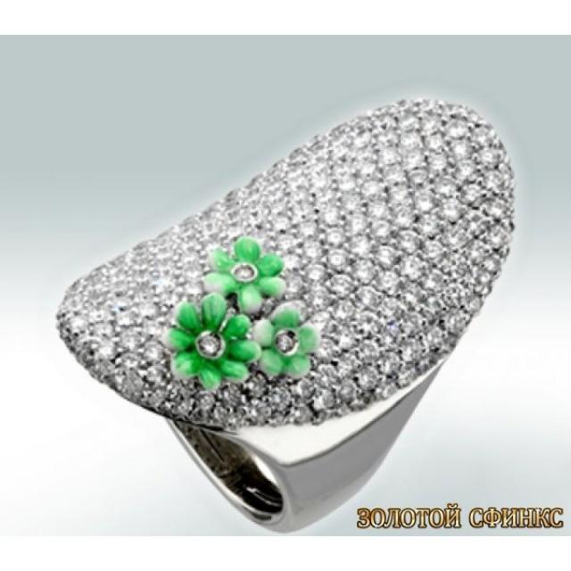 Золотое кольцо с цирконами 30069bbi