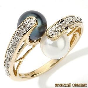 Золотое кольцо с жемчугом 30884пом фото