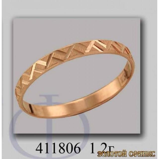 Золотое обручальное кольцо 411806