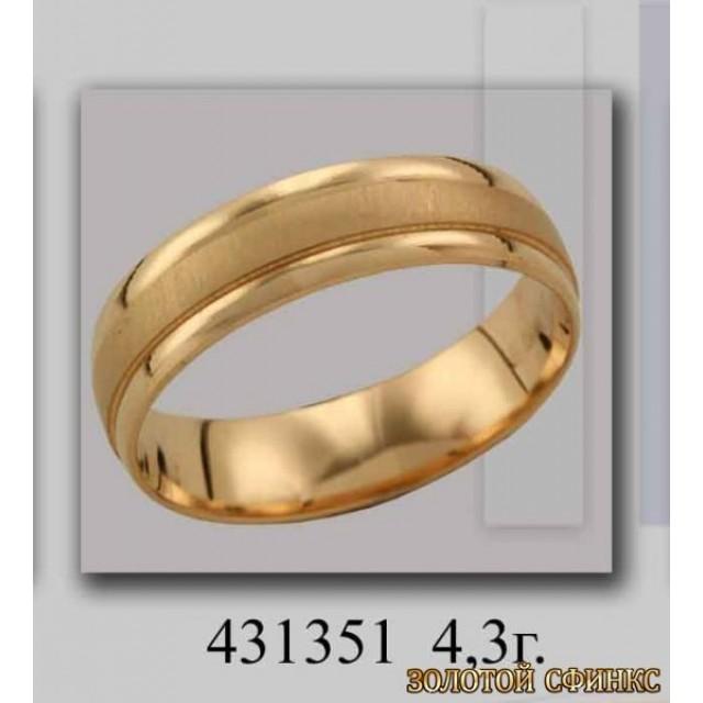 Золотое обручальное кольцо 431351 фото