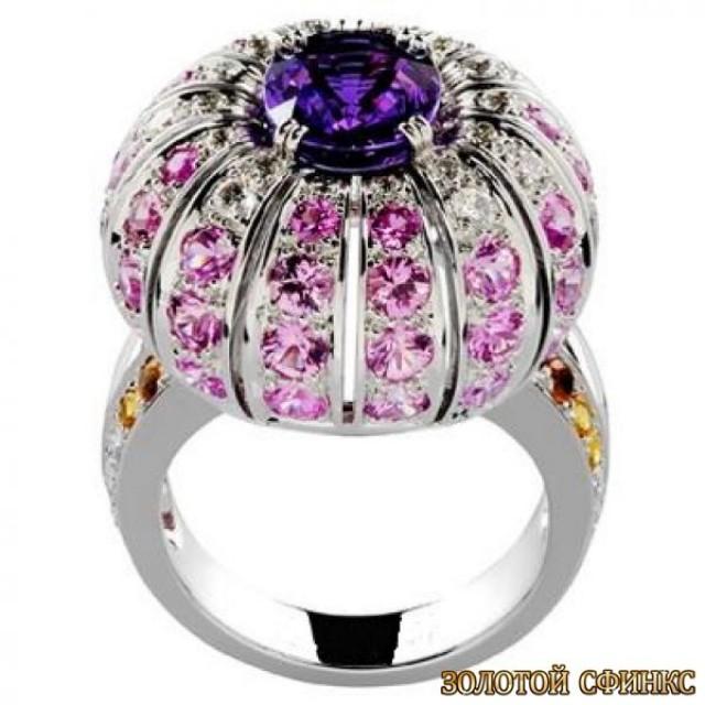 Золотое кольцо с цирконами 30103bn фото