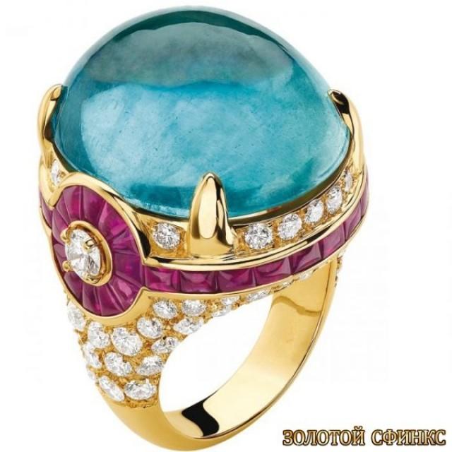 Золотое кольцо с цирконами 30165bi