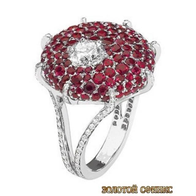 Золотое кольцо с цирконами 30338ct фото