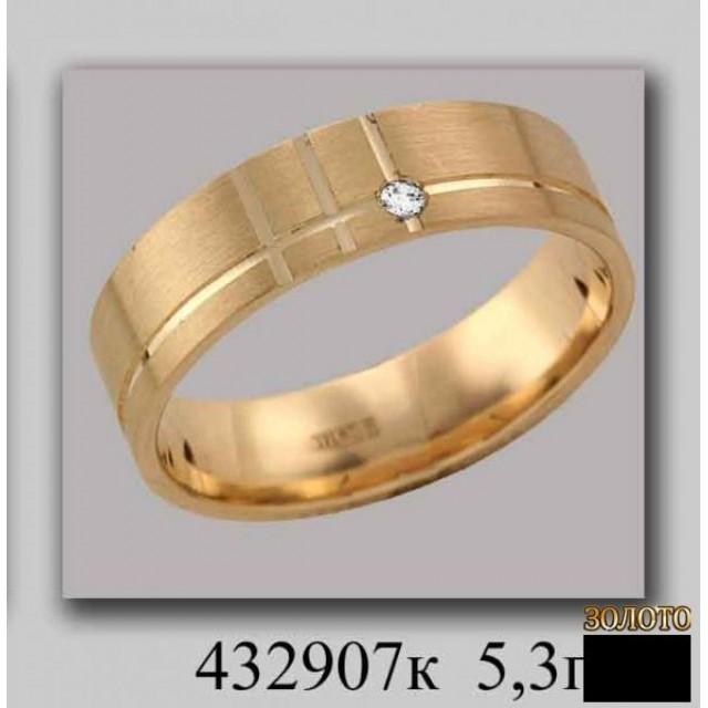 Золотое обручальное кольцо 432907к фото