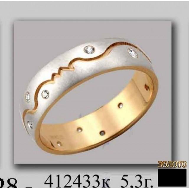 Золотое обручальное кольцо 412433к фото