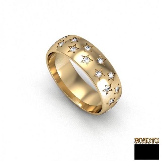 Золотое обручальное кольцо 100101к фото