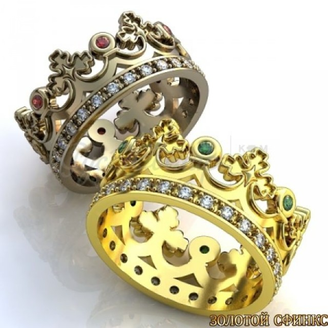 Золотое обручальное кольцо корона 412920к