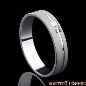 Обручальное кольцо из платины с бриллиантом 091012 фото