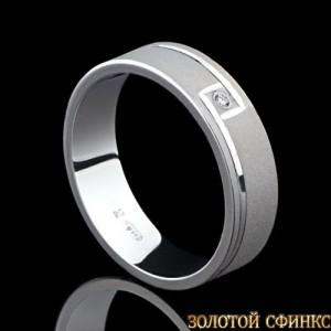 Обручальное кольцо из платины с бриллиантом 091013 фото