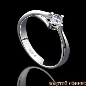 Обручальное кольцо из платины с бриллиантом 091104 фото