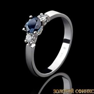 Кольцо из платины.Бриллианты. Сапфир.091110