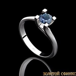 Кольцо из платины с сапфиром 091113