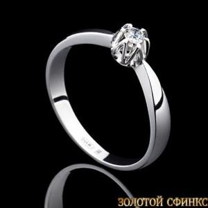Кольцо из платины с бриллиантом 091116