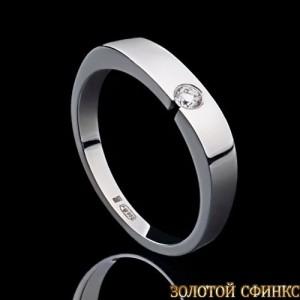 Обручальное кольцо из платины с бриллиантом 091119 фото