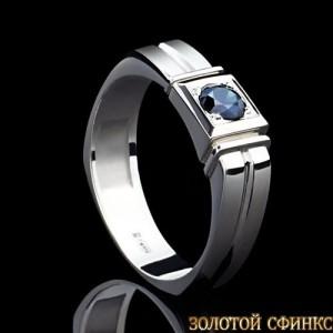 Кольцо из платины с сапфиром 091124