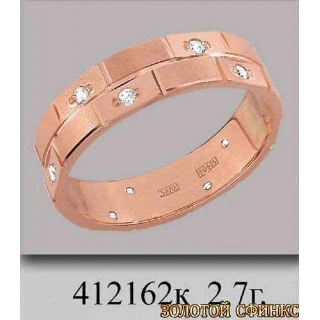 Золотое обручальное кольцо 412162к фото
