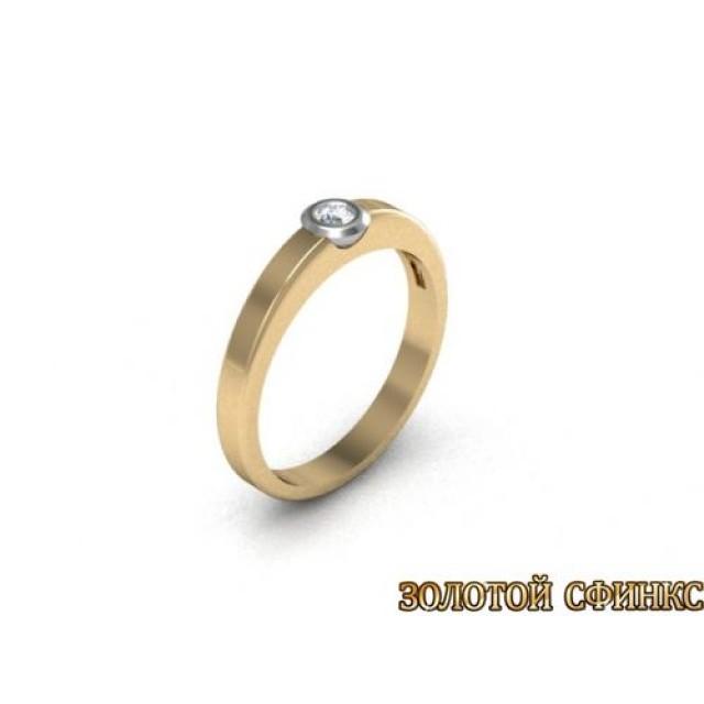 Золотое кольцо с бриллиантом 3021720