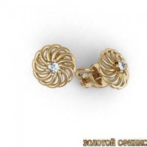 Золотые серьги с бриллиантами 3031675