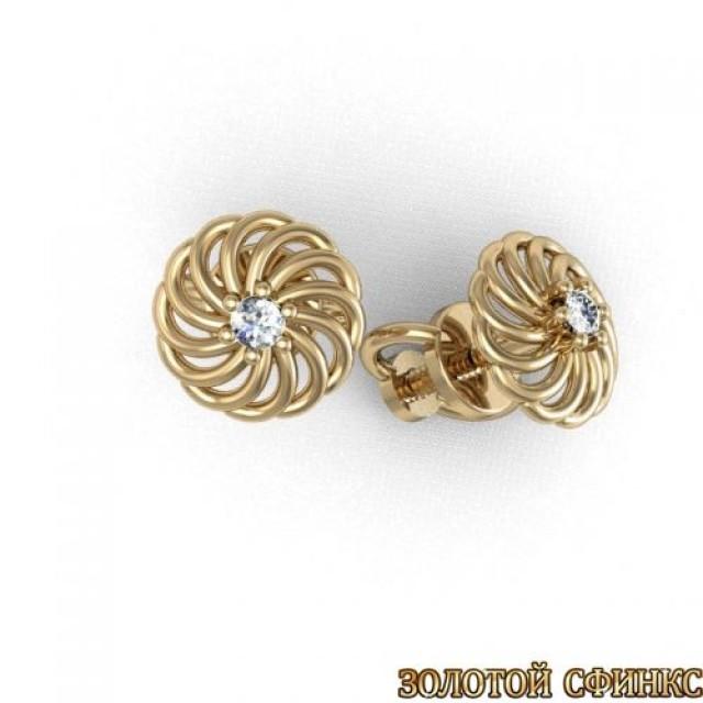 Золотые серьги с бриллиантами 3031675 фото
