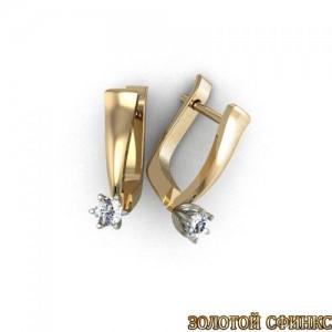 Золотые серьги с бриллиантами 3031682