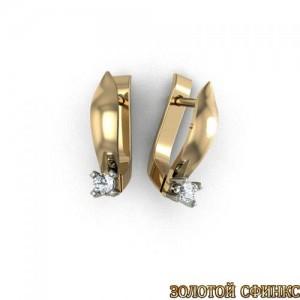 Золотые серьги с бриллиантами 3031680