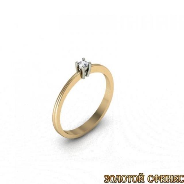 Золотое кольцо с бриллиантом 3021713 фото