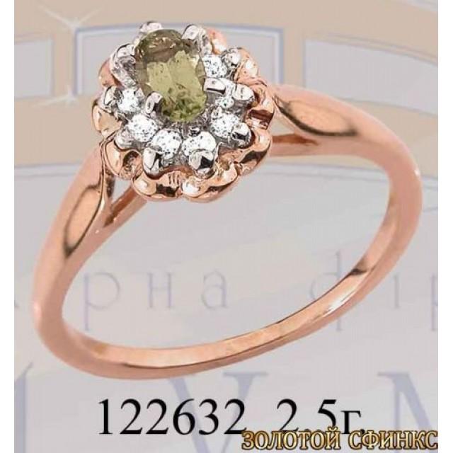 Кольцо золотое с цирконием 122632 фото