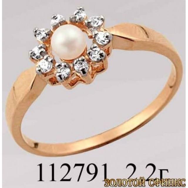 Кольцо золотое с цирконием 112791