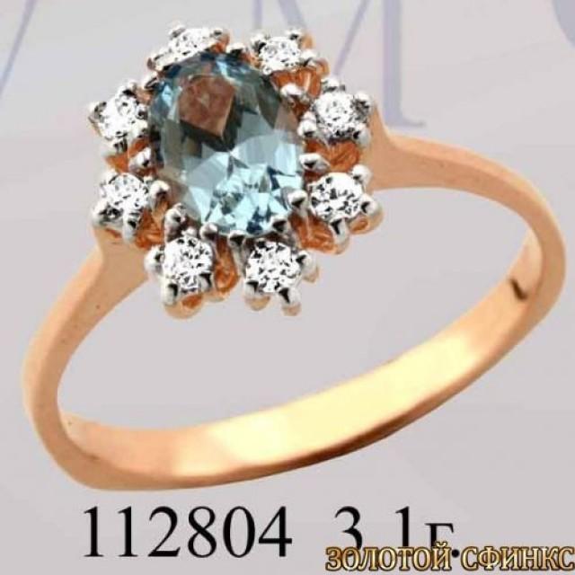 Кольцо золотое с цирконием 112804